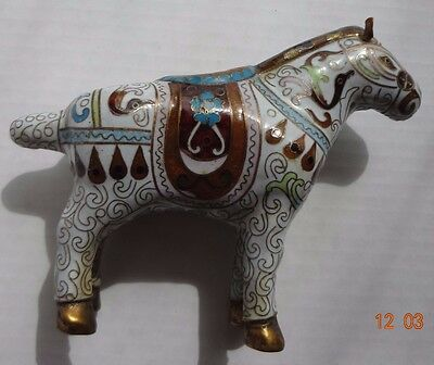 Vintage Chinese Cloisonne Tang Horse Bronze Enameled