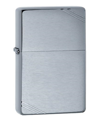 zippo lighter 230 Brushed Chrom Vintage with Slashes - Made in U.S.A / Genuine