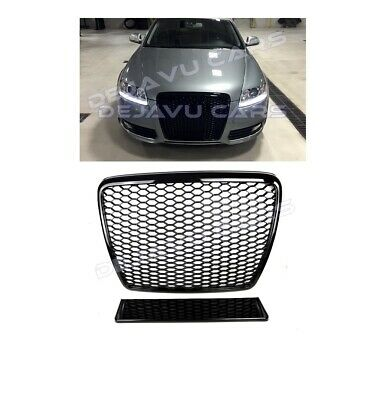 RS6 Grill Audi A6 C6 4F S6 Limo Avant Wabengrill Kühlergrill Glanz Schwarz #RS6