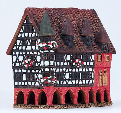 "Handmade Midene ceramic incense house ""Town Hall in Fulda, Germany"" (R321)"