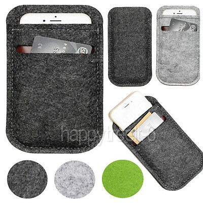 Universal Wool Felt Wallet Bag Pouch Sleeve Case Card Pocket For Smart Phones