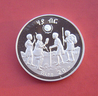 Ethiopia 1979 International Year of the Child 20 Birr Proof Silver Coin