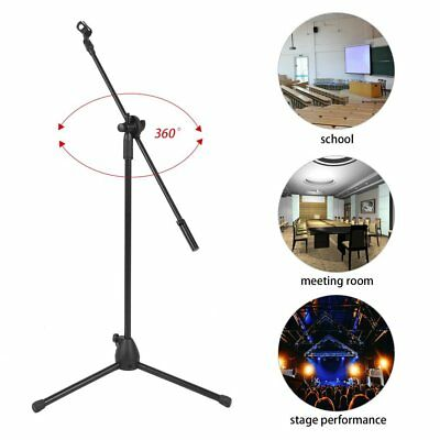 Telescoping Microphone Stand Mic Clip 360-degree Stage Studio Holder Tripod | UK