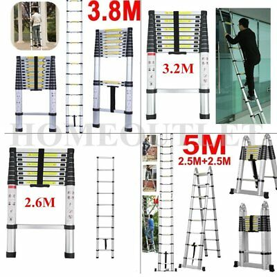 2.6M 2.9M 3.2M 3.8M 5.0M Aluminum Telescopic Ladder Multi Extension Extendable #
