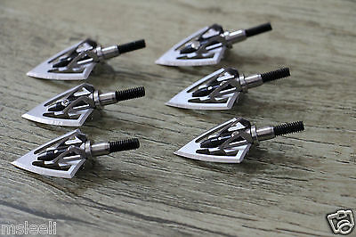 6PCs Fighter Broadheads 100 Grain Sharp Blades Compound Bow Crossbow Hunting Tip