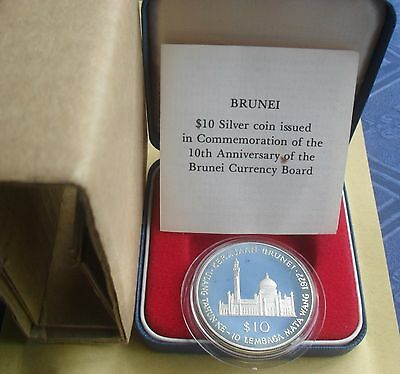 "1977 BRUNEI $10 SILVER PROOF COIN ""10th ANNIVERSARY CURRENCY BOARD"""