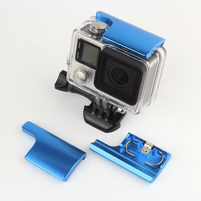 Blue CNC Protective Case Top Lock Buckle Snap Clip Backdoor Latch for GoPro 3+/4