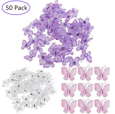 50pcs Wedding Card Wired Mesh Stocking Glitter Butterfly Craft Sewing DIY Decor