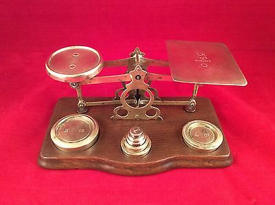Antique Brass Desktop Balance Scale Made In England With Weights