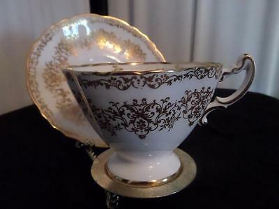 Hammersley White with Gold Fine Bone China Tea Cup & Saucer,  England........MK.