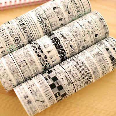 10pcs 15mm*10m DIY Roll Washi Paper Decorative Sticky Paper Masking Tapes Self