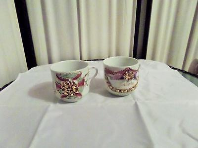 Two Vintage Raised Patterned Porcelain Mugs ...GERMANY.