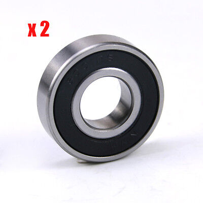 (Qty.2) 6001RS 12mm id x 28mm od x 8mm wide sealed deep groove ball bearings rs