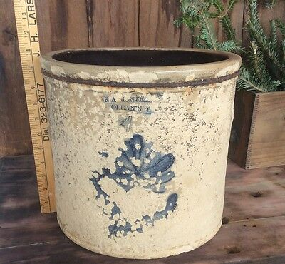 Vintage Olean N.Y. 4 Gallon Crock , Very Rough Condition, Cobalt Blue Signed