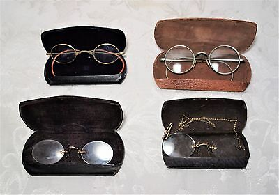 Lot of 4 Antique Wire Frame  Eye Glasses Spectacles (cases included) Vintage