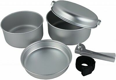 5-Piece Aluminium Cook Set With carry strap Silver - Lightweight and Compact -