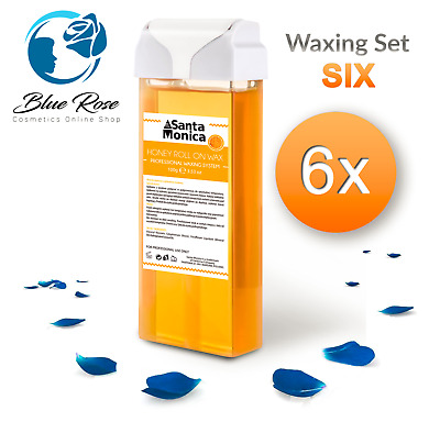 6x 100g Hot Wax Roller Honey Smell Large Cartridge Waxing Hair Removal Blue Rose