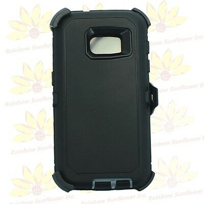For Samsung Galaxy S7 Black Gray Defender Case (Belt Clip Fits Otterbox)