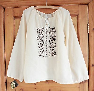 Vintage cream embroidered floral 70s cotton boho top penny lane lace blouse S