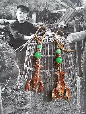 LOBSTER EARRINGS! Crustacean-loving crawfish sea creature, GREEN, fish interest