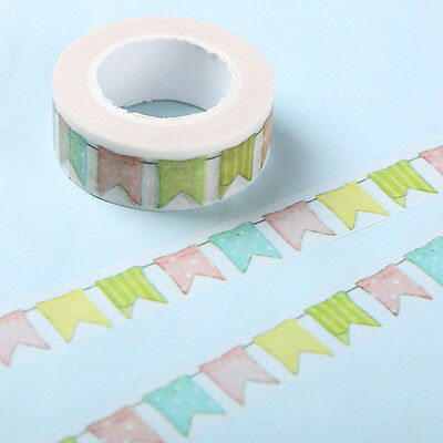 10pcs Color Flag Washi Tape DIY Decor Scrapbooking Masking Tape Adhesive Tapes