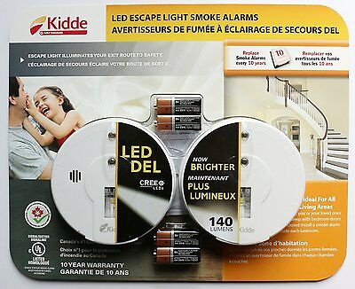Smoke Alarms for Homes Kidde LED Escape Light Battery Operated 10 Yr Warranty