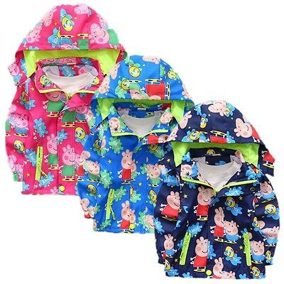 Peppa Pig Coat Hoodie Jacket Kids Boys Girls Tops Clothes Windbreaker Outerwear