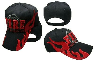 Fire Fighter Dept Department First In Last Out Red Black Embroidered Cap Hat