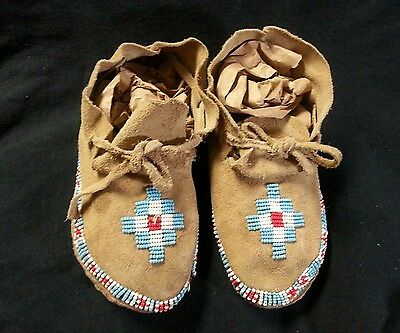 Vintage Native American Moccasins Beadwork Tanned Leather Red White Turquoise