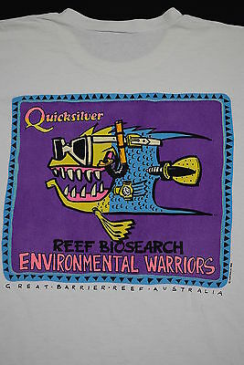 Quicksilver Reef Biosearch Graet Barrier Australia 1992 90s Vintage T-Shirt L-XL
