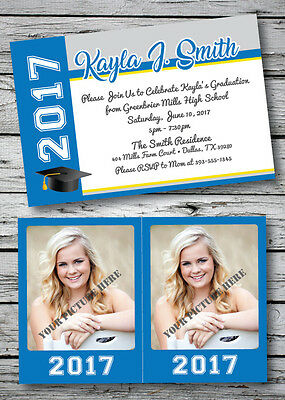 Graduation Set Announcement Invitation Party Card ANY COLOR w/ Wallet Pictures