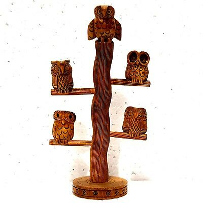 """Indian Wooden 5 Owl 9""""Perched On Log Hand Carved Rain Tree Wood Collectible Gift"""