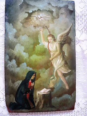Original Antique Retablo On Wood With Angel, Holy Spirit And Virgin Mary