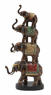 """Polystone Stacked Elephant Sculpture 18""""H, 9""""W 44119"""