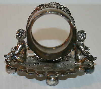 Victorian Silver Plated Napkin Ring Small Winged Cherubs Sit Wilcox SPC #01536