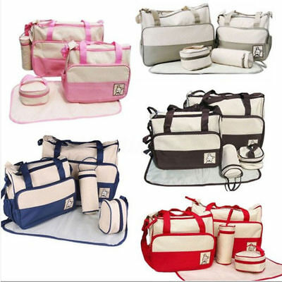 Baby Bags Multi-Function Baby Diaper Nappy Bag/Mummy Changing Set Handbag 5 PCS