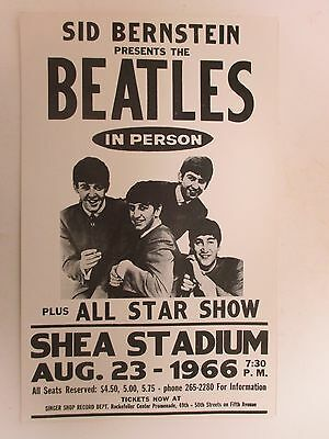Sid Bernstein Presents The Beatles in Person August 23, 1966 Shea Concert Poster