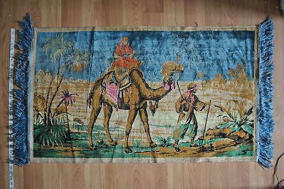Vintage Rug Tapestry Wall Hanging Woven Arabic Camel Rider 25 x 42