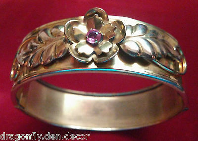Vintage 1940's Floral Gold Filled Hinged Cuff Bangle Bracelet ADORNA
