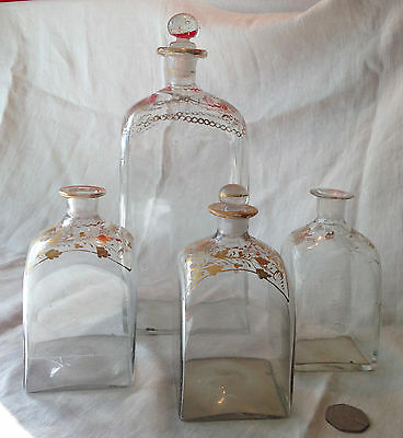 Victorian Decanter & Bottles Set/4 Hand-Blown & Painted Glass 1800's Gold Floral