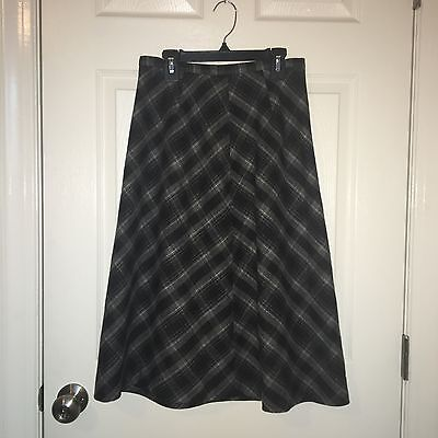 Eddie Bauer Gray and Black Wool Blend Long Skirt Size 4