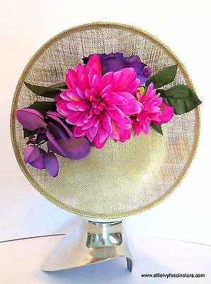Gold & Purple pink fascinator hat. weddings, races, ladies day. one size