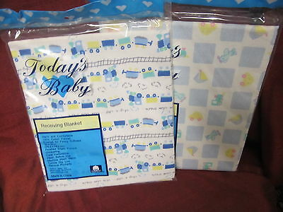 """2 Today's Baby Assorted Baby Boys 30"""" X 30"""" Receiving Blankets"""