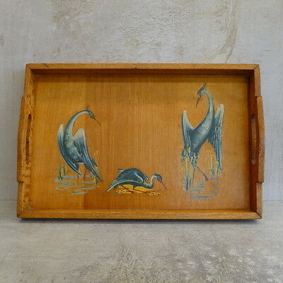 Mid Century Silky Oak and Ply Wooden Tray with Water Bird Decals  Handmade AGED