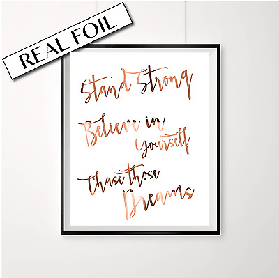 Stand Strong motivational quote / Copper Foil Poster Print / Office homewares