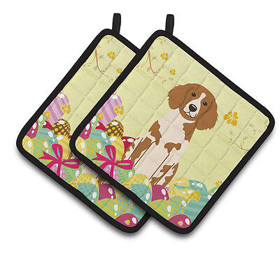 Carolines Treasures  BB6072PTHD Easter Eggs Brittany Spaniel Pair of Pot Holders