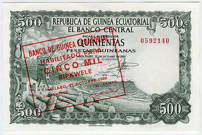 Equatorial Guinea 1980 Issue 5000 Bipkwele On 500 Pesetas Crisp Unc. Pick#19.