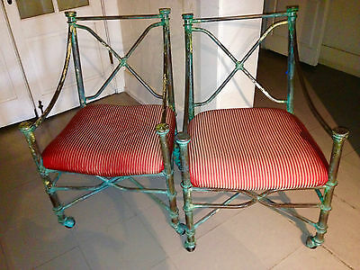 Vintage Pair Of Metal Garden Chairs. Circa 1920. New Fabric Seats,green Patina,