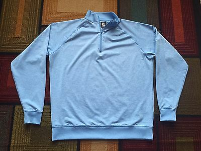 FootJoy Long Sleeve Golf 1/4 zip Pullover Jacket light Sky Blue L Indiana Club