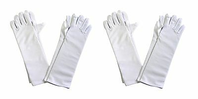 Girls Tea Party Stretch Polyester Long Dress Gloves Set of 4 White Childr... NEW
